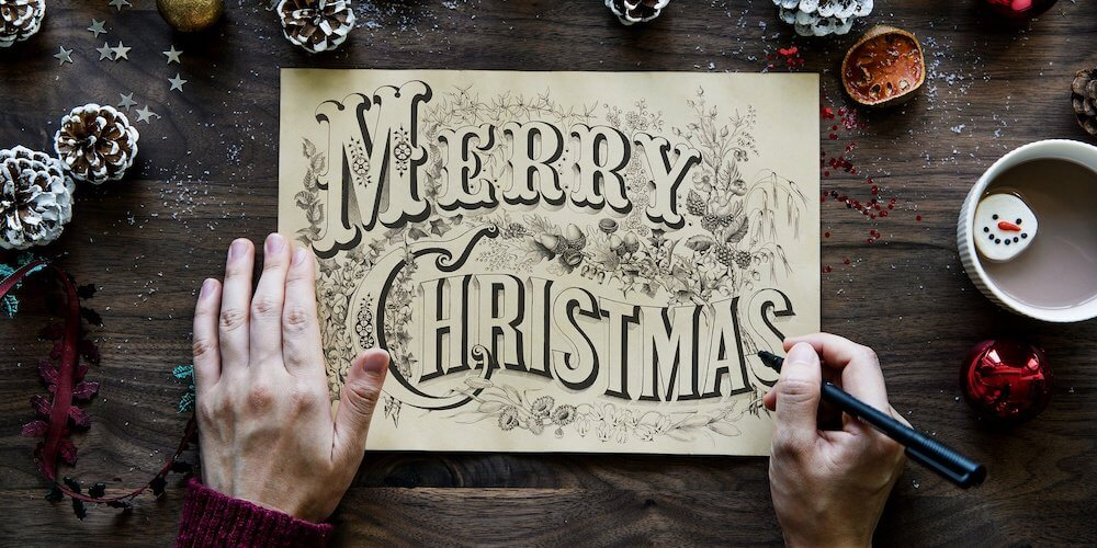 merry christmas card, christmas new year's opening hours